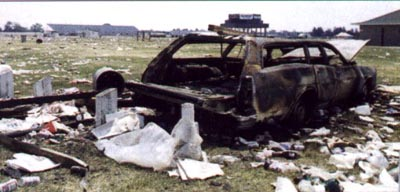 burned up car in the infield
