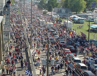 Crowds streaming out of Speedway
