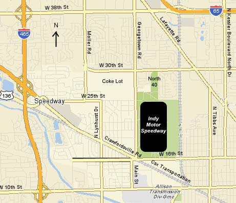 Street Map of Indianapolis Motor Speedway Area