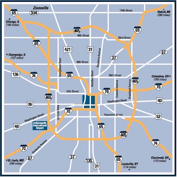 Map Of Downtown Indianapolis Indiana
